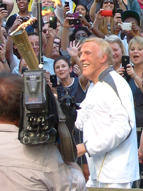 Bruce Forsyth carrying the Olympic Torch pre the London 2012 Olympics