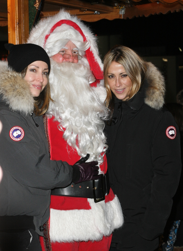 Natalie and Nicole Appleton of All Saints with Father Christmas, London