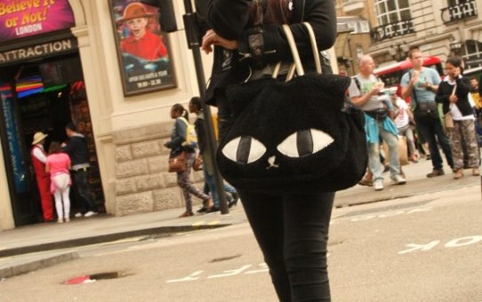 Blonde and Monochrome and cats eyes bag, Londom