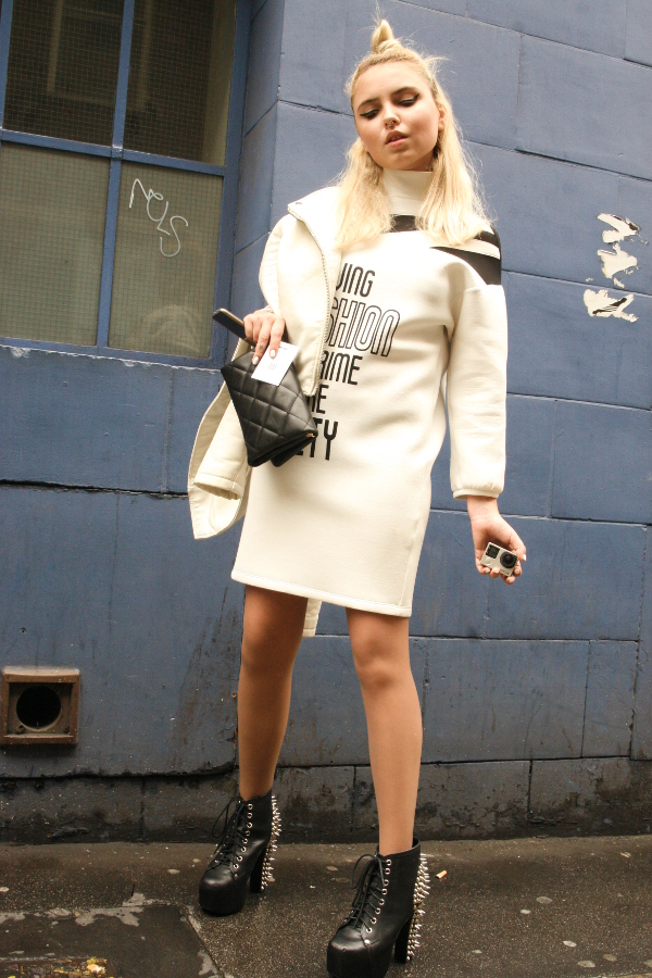 Blonde Monochrome Fashionista Model from Moscow at LFW 2015
