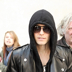 Jared Leto in Hoodie and Shades leaving BBC Radio 1 Central London